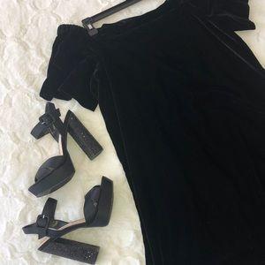 NWT LOFT Velvet Off the Shoulder Dress